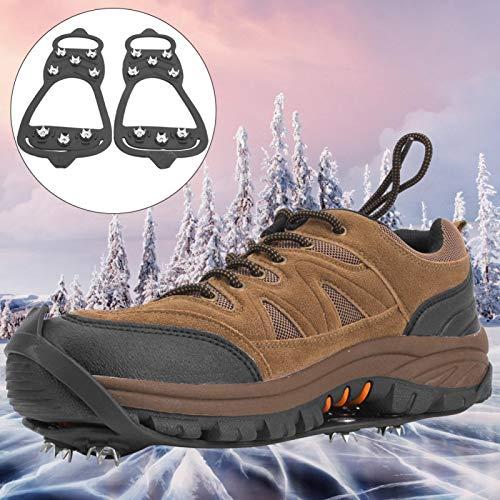 SALUTUYA Cómodos Crampones para Escalar en la Nieve Funda Antideslizante de Acero Inoxidable para Zapatos Tacos de tracción Picos de Hielo Empuñaduras para Botas Seguro para Pescar,(M:36-38)