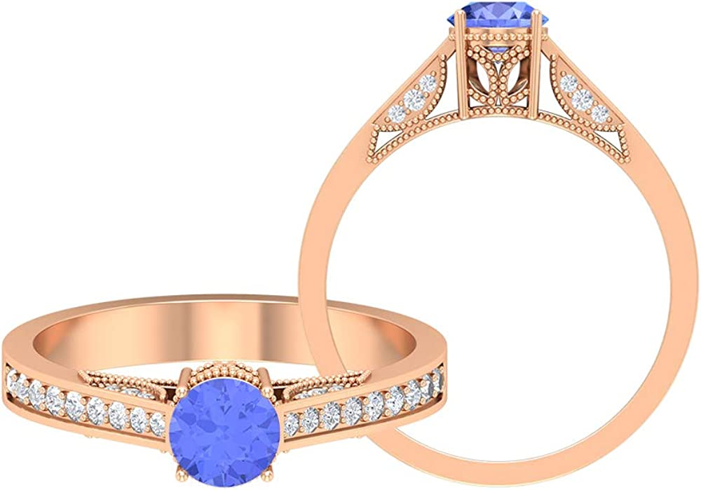3/4 CT Tanzanite Ring with Diamond Accent, Gold Vintage Ring (5 MM Round Cut Tanzanite), 14K Gold