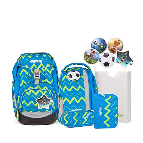 Ergobag Pack LiBäro -Blau, ergonomischer Schulrucksack, Set 6-teilig, 20 Liter, 1.100 g, Blau