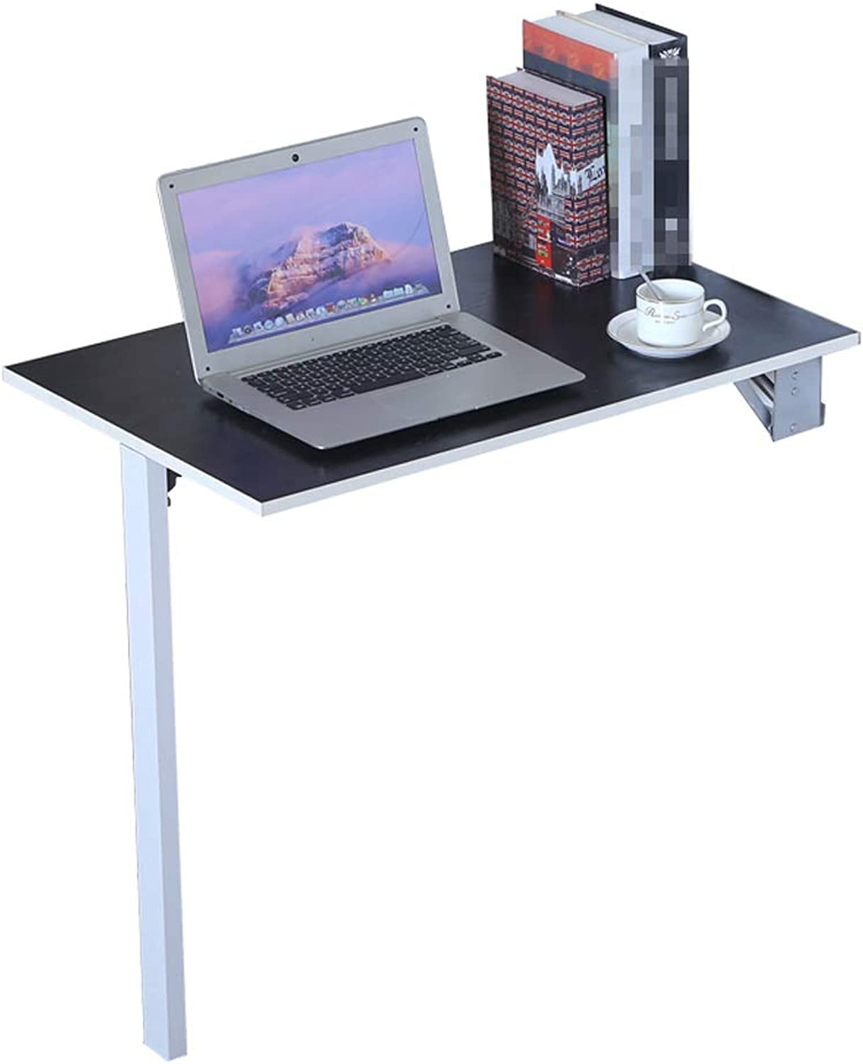 GY Fold Drop Leaf Congreen Wall Table Wooden Floating Workbench, One Leg Multifunction Laptop Study Desk Against The Wall Table, Black, 3 Sizes (color   Black, Size   80  30cm)