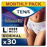 TENA Silhouette Mutandine a vita bassa, assorbenti, per perdite urinarie, elasticizzate, monouso, per donna, 6 confezioni x 5 pezzi