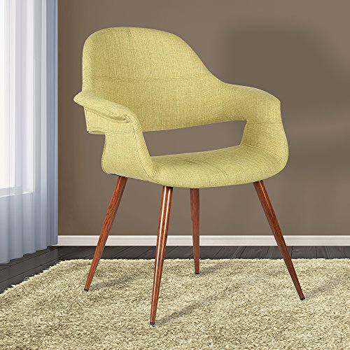 Armen Living Phoebe Dining Chair in Green Fabric and Walnut Wood Finish