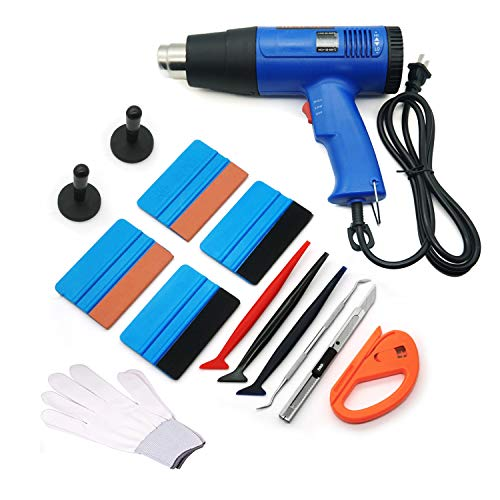 CARTINTS Professional Vinyl Wrap Tool Kit for Glass Protective Film Installing Window Tint Application Including Heat Gun, Squeegees, Vinyl Magnet, Work Gloves, Vinyl Knife, Utility Knife