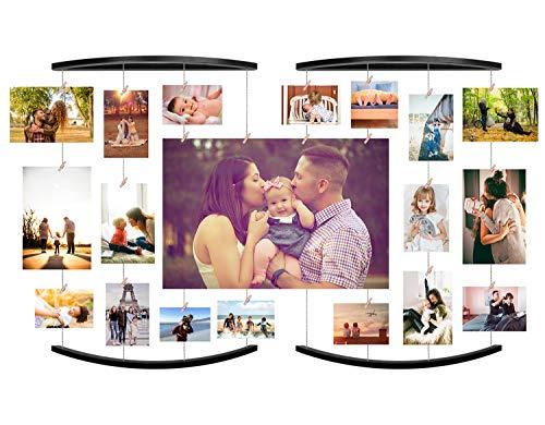 【2 Pack】 EASTERNSTAR Family Bilderrahmen Collagen Fotorahmen Collage aus Holzbilderrahmen mit 36 Klammern Holzklammern für Foto Bilder Drucke Kunstwerke Karten Memo (Black)