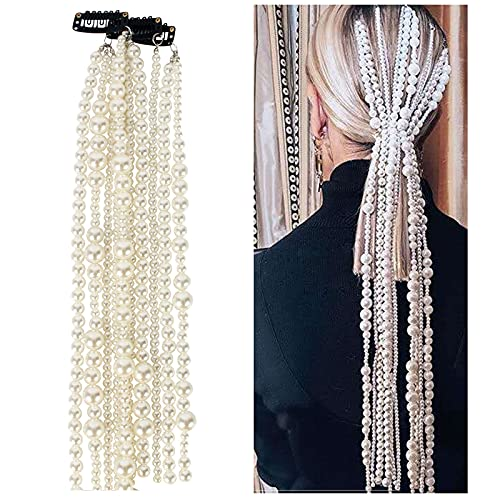 UPANV Mode Haarschmuck Imitation Perle Haarkette Neue Lange Legierungsketten Für Frauen Übertriebenes Kopfbedeckungszubehör
