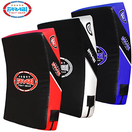 Farabi Quad Boxing MMA Muay Thai Martial Arts Hook & Jab Punch Kick Pads MMA Target Focus Punching Mitts Thai Strike Training Kick Shield Kicking Target mitt Kick Strike pad (Red Black)