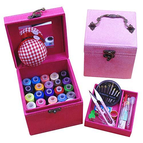 QD-SGMP 裁縫箱 さいほうセット 小学生 女の子 ソーイングボックス 裁縫道具 裁縫セット かわいい 裁縫ボックス コンパクト 携帯式 針糸セット 家庭科(ピンク)