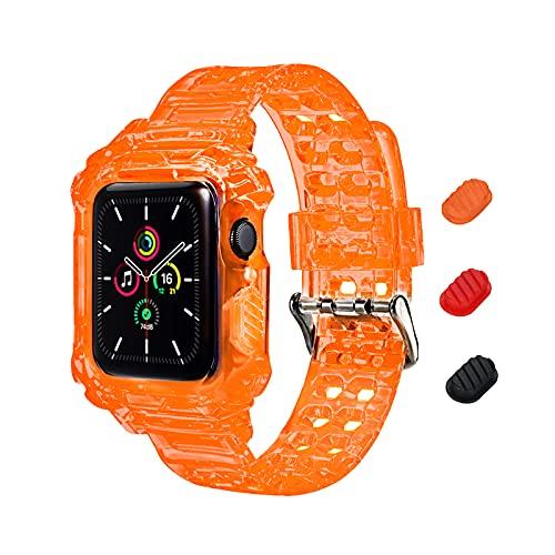 KIMOKU コンパチブル Apple Watch バンド 38mm 40mm 42mm 44mm 一体型 ソフト クリスタル TPU素材 耐衝撃ベルト 保護ケース 全面保護 コンパチブル アップルウォッチ バンド コンパチブル iWatch Series SE/6/5/4/3/2/1 (38mm/40mm オレンジ)