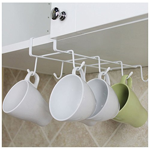 8-Hook Under-the-Shelf Mug Rack Kitchen Hanging Organizer Rack Mug Storage Holder