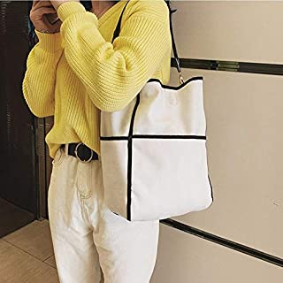 Canvas Single Shoulder Bag Ladies Handbag Bags Pretty Gift (Color : White)