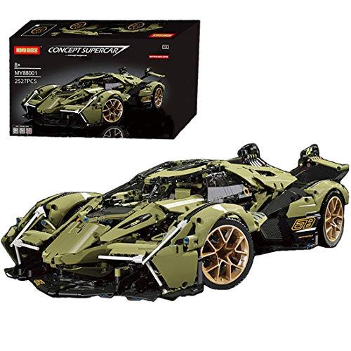 Lommer Technics - Kit de construcción de coche deportivo para Lamborghini V12 Vision GT, 2527 piezas 1:8, bloques de construcción compatibles con Lego