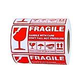 POHOVE 300 hojas/rollo pegatinas frágiles para envío, frágil - manejar con cuidado embalaje etiqueta de envío, etiquetas adhesivas frágiles, etiquetas adhesivas fuertes 5.1 x 2.7 pulgadas