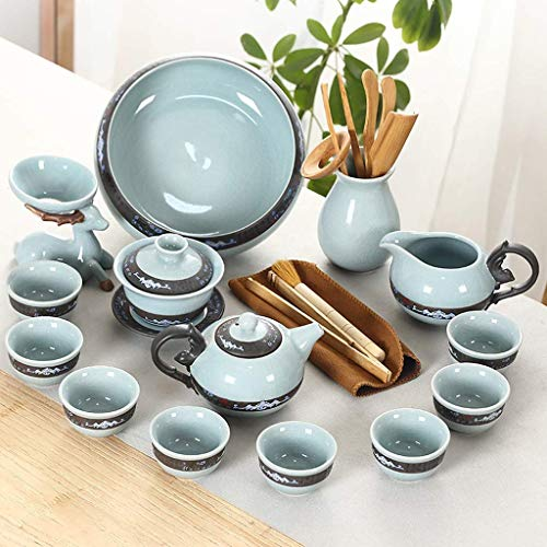 WYZQ Exquisito Juego de té de cerámica de Kung Fu, Tetera de Horno, Taza de té, Tetera de Ceremonia de té, Taza de té, tazón de té, Juego Completo de 17 para el hogar, vajilla
