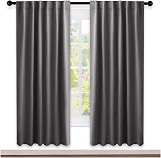 NICETOWN Bedroom Blackout Draperies and Window Treatment- (Gray Color) 52 Width X 72 Length, 2 Panels Set, Solid Blackout Curtain Panels