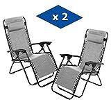 VIP HOGAR Pack 2 Tumbonas Plegables Multiposiciones, Sillas Relax Jardín o Exterior Gravedad Cero (Gris)