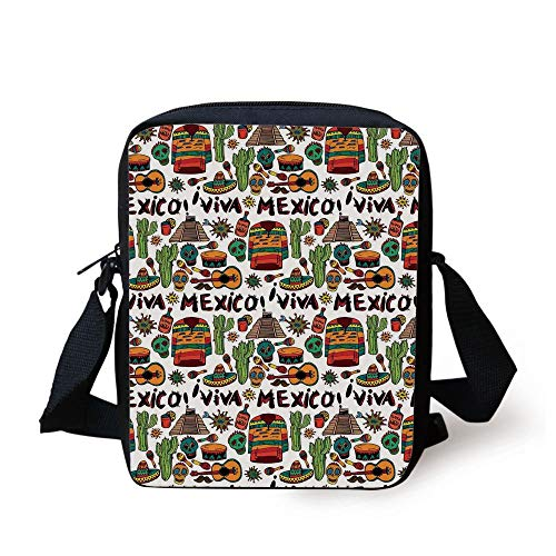 Mexican Decorations,Viva Mexico with Native Elements Poncho Tequila Salsa Hot Peppers Image,Multi Print Kids Crossbody Messenger Bag Purse