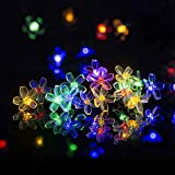 Solpex Solar Flower String Lights, 2 Pack 23ft 50LED Solar Fairy Flower Lights, Solar Blossom String Lights for Patio, Garden, Tree, Fence, Christmas, Party, Holiday Decorations- Multicolor