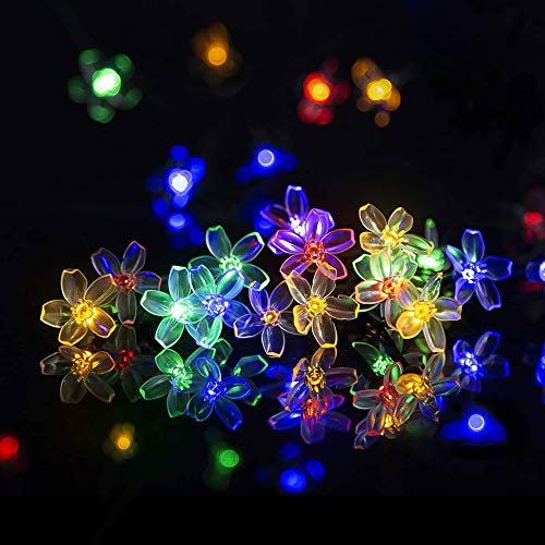 Solpex Solar Strings Lights, 2 Pack Solar Fairy Lights 23 Feet 50 LEDs Flower Lights, Solar Christmas String Lights for Outdoor, Home, Lawn, Wedding, Patio, Party and Holiday Decorations- Multi Color