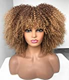 Ombre Blonde Afro Short Kinky Curly Wig with Bangs for Black Women Curly Wig #33/27 ANNIVIA