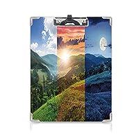 クリップボード A4 アパートの装飾 子供の贈り物バインダー 一日のさまざまな時間の霧の山の森の眺め牧歌的な自然のコラージュ A4 タテ型 クリップファイル ワードパッド ファイルバインダー 携帯便利マルチ