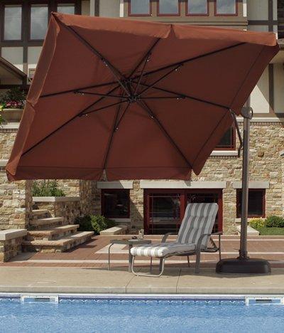 Big Sale 10' Cantilever Umbrella with Drape Fabric: Olefin Stone