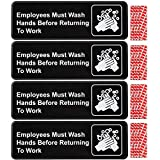 Employees Must Wash Hands Before Returning to Work Sign: Easy Mount Plastic Safety Informative Sign Great for Business, 9'x3', Pack of 4