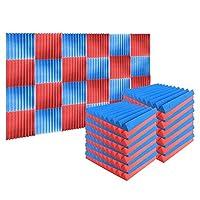 Arrowzoom 24 ピース 500 x 500 x 50 mm フォームトリートメントタイルパネルウェッジサウンドコレクション難燃性 SD1134 (青 と 赤)
