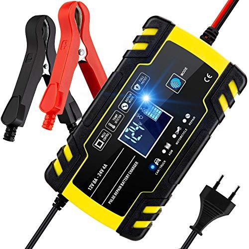 BUDDYGO Caricabatteria Auto Moto, 8A 12V/24V Carica Batteria con Schermo LCD Intelligente Automatico Caricabatteria Mantenitore la Batteria per Auto Moto