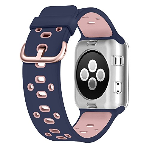 UMTELE Compatible with Apple Watch Bands, Soft Silicone Sport Strap Breathable Band Replacement with Apple Watch Series 4/3/2/1 38mm/40mm/42mm/44mm(Blue/Pink,38mm/40mm)