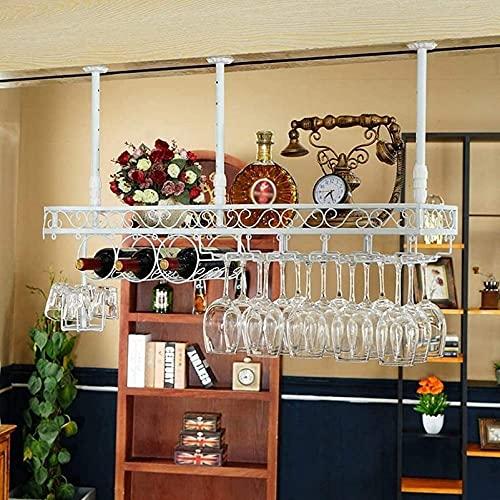 SBTXHJWCGLD Wine Rack Soporte para Botellas de Vino montado en la Pared con Soporte para Copas de Vino, Soporte para Copas de Vino Soporte Creativo para Vasos Colgantes para Copas de Vino, bla
