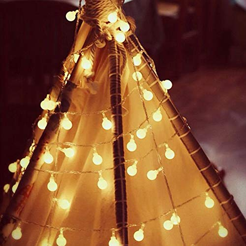 Cadena de luces decorativas, 40 luces LED de 6 m, para dormitorio, cadena de luces LED con conector USB, cadena de luces impermeable para casa, fiesta o Navidad, color blanco cálido