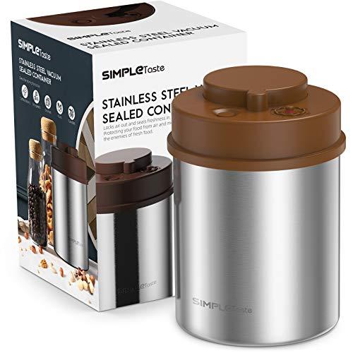 SIMPLETASTE Kaffeedose mit Vakuumsystem, Vakuumdose aus Edelstahl mit Datumsanzeige Kaffeebehälter Luftdicht Kaffeebohnen Aromadose Pulver, Tee, Nüsse