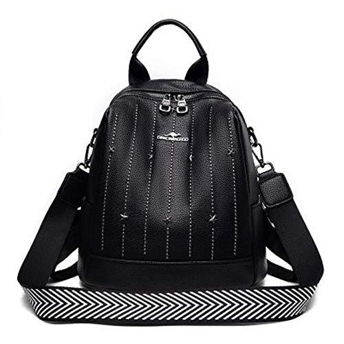 qwerasdf multifunctional women's backpack, rivet fashion women's bag, shoulder bag, messenger bag, handbag (black, 26*25*13cm)