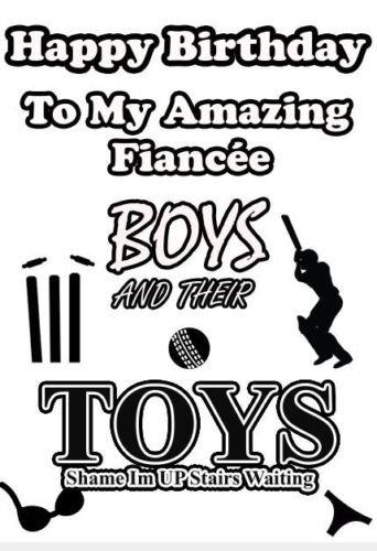 Jungen und ihre Toys Cricket Geburtstag A5Grußkarte Verlobte Humor Karte