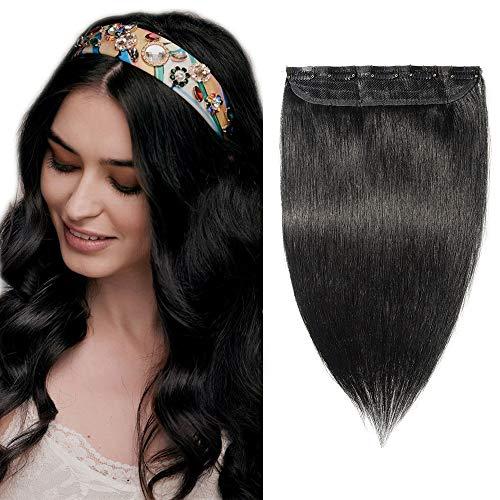 SEGO Extension Capelli Veri Ciocca Unica Clip in Remy Human Hair Neri 100% Naturali Fascia Larga 22cm Allungamento Posticci per Donna 55cm (55g) #1 Jet Nero