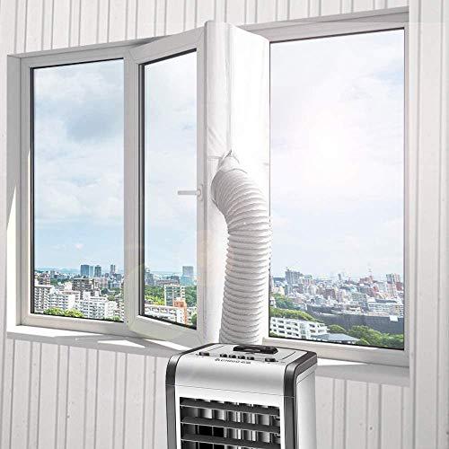 Molbory, guarnizione per finestre da 400 cm, per climatizzatori mobili, climatizzatori, asciugatrici e asciugatrici di scarico, AirLock per il fissaggio a finestre, lucernario, senza fori (bianco)