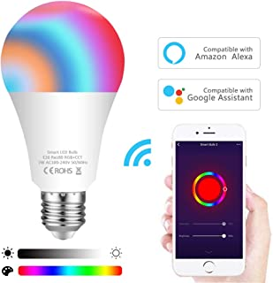 Smart Bulb,Aovikey WiFi Led Bulb E26 A19 7W 600LM Multicolored RGB-CCT Color Changing Smart Light Bulb Compatible with Alexa and Google Home No Hub Required 60W Equivalent