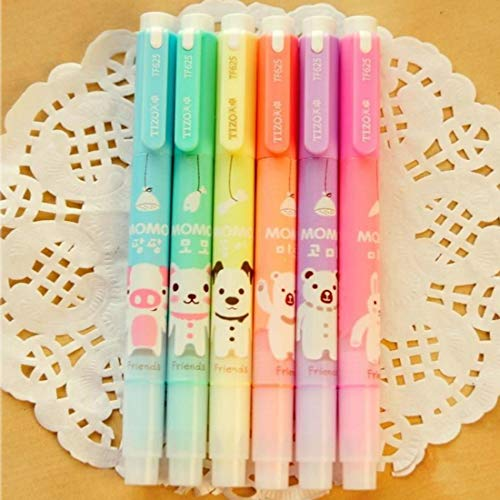 Set of 6 Cute Kawaii Novelty Cartoon Colored Assorted Animals Double Tips Highlighters Pens Fluorescent Ink Markers 6 Different Colors Set For Books
