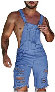 Andopa Men Fashion Denim Summer Hole Bib Overall Multi Pockets Trousers