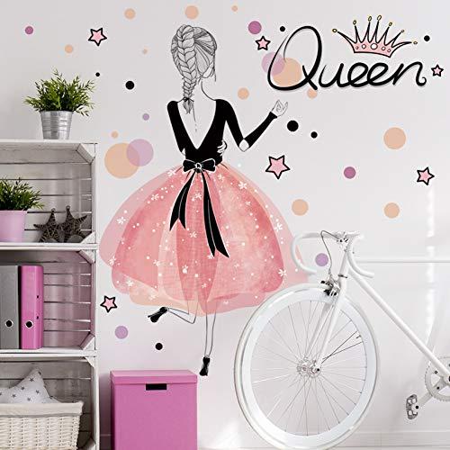 QingyU Muursticker, voor meisjes en meisjes, van PVC-kunststof, voor kinderkamer en slaapkamer, decoratie