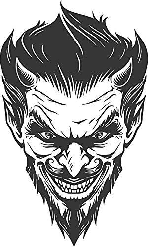 EW Designs Creepy Black and White Demon Devil Head Cartoon Vinyl Decal Bumper Sticker (4' Tall)