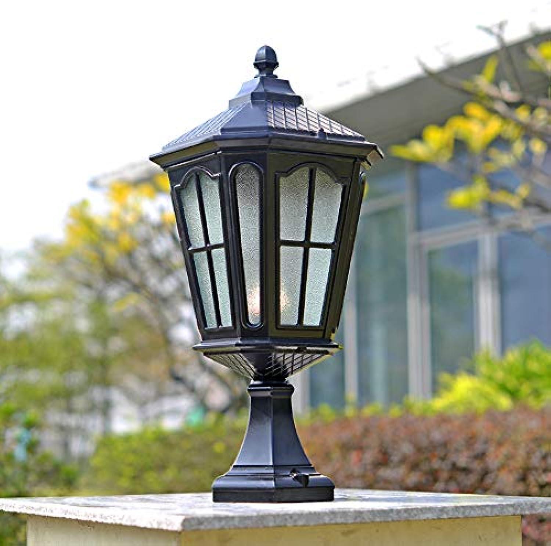 HDMY Europischen Outdoor Grundlegende Firenze Sockel Post Light Wasserdicht Garten Villa Garten Lichter Hause Retro Traditionelle Laterne Tür Spalte Tor Wand Sule Lampe (Farbe   schwarz-S)