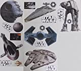 "FATHEAD Star Wars Set of 18 Vinyl Wall Graphics Re-Usable and Removable Decals: Death Star, Millenium Falcon, Star Destroyer, TIE Advanced X1 Starfighter, Slave 1, at-at (Main Graphics 7"" INCH Each)"
