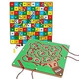 Toys of Wood Oxford TOWO Juguete de Laberinto Magnético del Manzano - Puzzle de Laberinto con 2 Bolígrafos Magnéticos y Bolas de iman de Colores - Juego de Habilidad Mental para 3 años y más