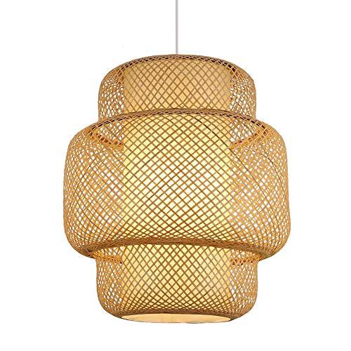 Lámpara Colgante De Madera Natural Lámpara De Mimbre De Mimbre Lámpara De Bambú Hecha A Mano Pantalla De Estilo Del Sudeste Asiático Linterna Colgante Lámpara De Techo Accesorio E27 ( Size : 45cm )