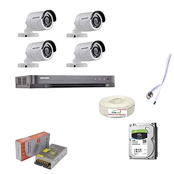 HIKVISION Full HD 3MP Cameras Combo KIT 4CH HD DVR+ 4BULLET Cameras + 1TB Hard DISC+ Wire ROLL +Supply & All Required CONNECTORS