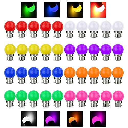 V-TOO Ampoule LED Couleur B22 3W équivalente 30W 240LM AC 220V-240V B22 Baïonnette Ampoules Guirlande Couleur LED Ampoules Multicolore pour Maison Bar Fête Décoration d'ambiance - Lot de 40