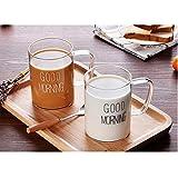 BLB Glas Kaffeetasse Klarglas Tasse Tee Kaffee Cocktail Glas Paar Geschenk Tasse mit Henkel weiß schwarz Weiße Buchstaben