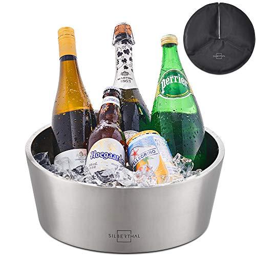 SILBERTHAL Champagnerkühler Edelstahl - Kühler mit doppelwandiger Isolierung und Kühlmanschette - Sektkühler 5 Liter