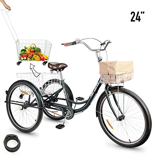 Buy Bargain 3-Wheeled Adult Tricycle with Removable Basket, 24 Wheels Trike for Men and Women, Sing...